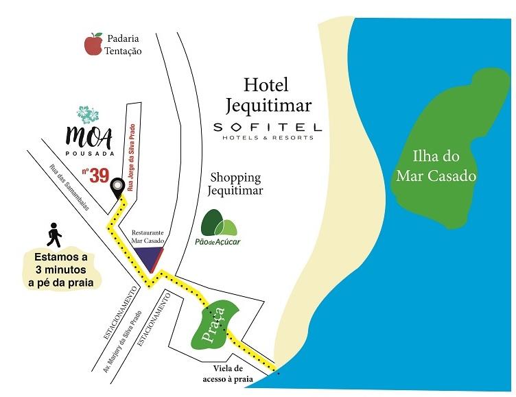 Mapa como chegar - Moa Pousada Guarujá